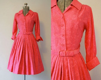 1950's Pink Day Dress / Size Small