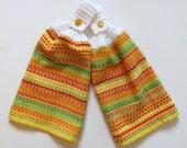 Zesty Lemon Crochet Top Kitchen Hand Towel Set of 2
