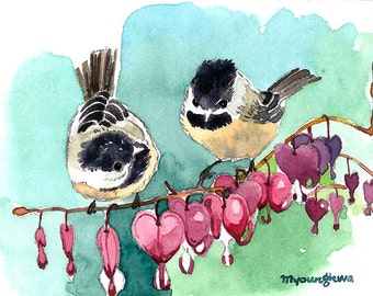 ART PRINT - A gem of nature, Chickadees, Gift for bird lovers, Art print of an original ACEO watercolor