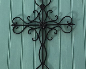 Black Decorative Cross / Metal Wall Cross / Cross Decor /Wall Decor / Black Wall Decor / Gallery Wall / Religious Wall Decor /Ornate