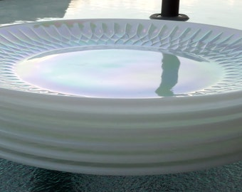 Federal glass   moonglow diamond point set of six dinner plates