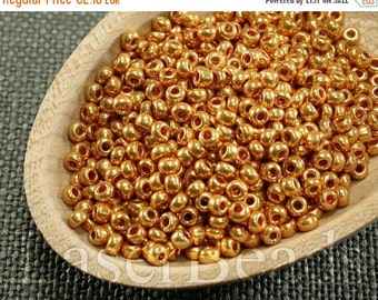 ON SALE 20% OFF Size 8 seed beads. Czech rocailles 20g. Orange Gold Beads. 36 Met
