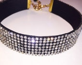 Black Clear Crystal Choker, choker jewelry, crystal jewelry