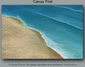 Coastal beach decor, Large wall art, Teal home office wall decor Brown turquoise tan taupe Bedroom Seashore ocean waves artwork Canvas print