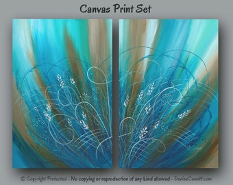 Extra large wall art, Teal turquoise blue brown home decor, Abstract floral canvas print, Office decor, Bedroom, Living room, Dining