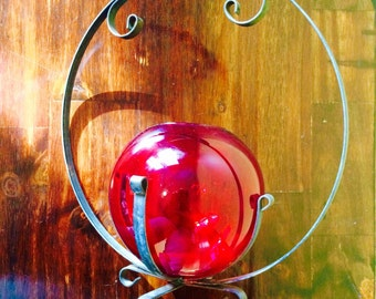 Ruby Red Wrought Iron Candle Holder