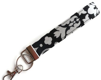 Key Fob, Key Chain, Wristlet for Keys, Keychain with Large Lobster Clasp~in a white on black damask designer fabric~~READY to SHIP~~
