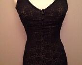 Vintage 60s Black Lace Swimsuit - Sears SeaStars