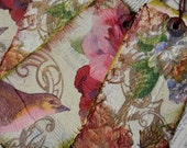 4 LARGE TAGS - Collage and Ink - Birds Flowers Scrolls Pink Leafy Green Mauve Lavender Browns