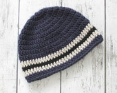 Striped Boys Beanie, Crochet Baby Hat, Mens Hat, Winter Boys Hat, Made To Order