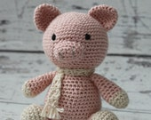 Poppy the Pig, Crochet Miniature Pig Stuffed Animal, Pink Piglet Amigurumi, Plush Animal, Made to Order