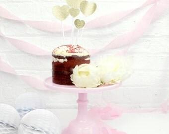 Glitter Heart Cake Topper Set