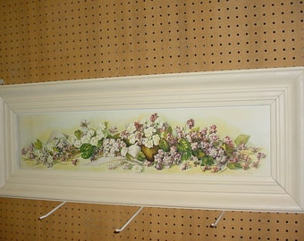 """YARDLONG """"Study of Violets"""" Mary E Hart Print set in Shabby Frame with Glass"""
