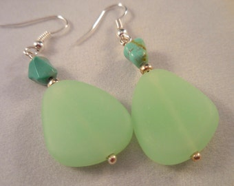 Green Sea Glass Turquoise Silver Earrings
