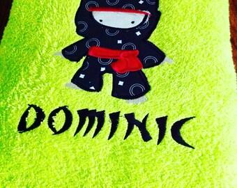 Ninja Applique towel with personalization