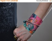 SUMMER SALE Abstract Leather Cuff Bracelet - Leather Cuff Bracelet - Leather Cuff - Summer Accessories - OOAK Leather Cuff