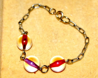 Multicolored Glass Bead and Chain Bracelet