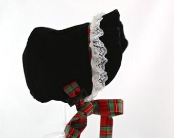 Christmas Baby Bonnet, Baby Bonnet, Baby Hat- Raven Bonnet