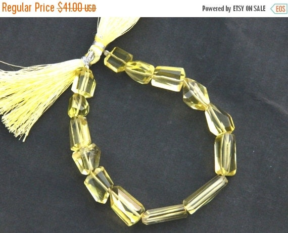 20 off. 8 Inches - AAA Green Gold Lemon Quartz Step Cut Faceted Nuggets Tumble - Size - 12mm to 20mm long Approx