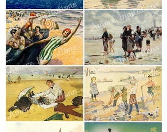 Printable Vintage Beach Digital Collage Sheet  Clip Art  atc  PDF  JPEG  Instant Download  Downloadable  Commercial Use  CU use ok
