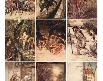 Printable Brothers Grimm Fairy Tales Digital Collage Sheet Arthur Rackham - JPEG - PDF - Instant Download - Downloadable - Cu Commercial use