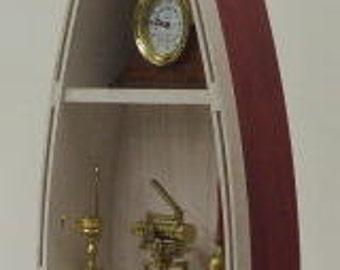 4' RED Handmade Wood Boat Shelves/Shelf skiff canoe rowboat bookcase man cave wooden boat