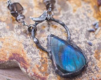 Labradorite Moon Silver Necklace with Citrine and Smoky Quartz - Labradorite Necklace - Moon Necklace - Boho Necklace - Gemstone Necklace