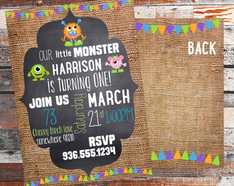 Monster Mash Birthday Invitation. Monster Birthday. Little Monster Birthday Party. Birthday Party invitation. Rustic. Front & Back.