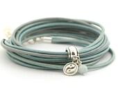 Aquamarine Bracelet, Blue Metallic Leather Wrap Bracelet, Mandala Bracelet, Yin Yang Yoga Bracelet, Minimalist Jewelry, gift for her boho
