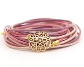 Lavender Lilac Wrap Bracelet, Rose Mandala Bracelet, Yoga Bracelet, Wrap Around Bracelet, Minimalist Jewelry, gift for her, boho chic