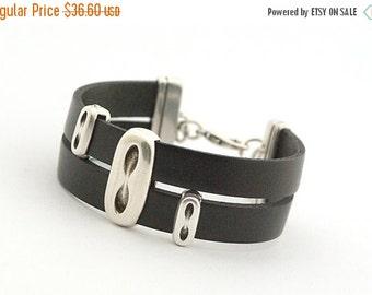 ON SALE Black Men's Leather Wrap Bracelet, Black Boho Bracelet, Men's Bracelet, Leather Cuff Men's, Men's Jewelry, Modern Men Bracelet, Gift