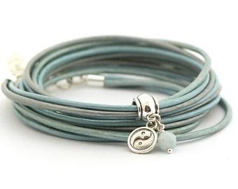 Aquamarine Bracelet, March Birthstones, Blue Leather Wrap Bracelet, Yin Yang Yoga Bracelet, Minimalist Jewelry, Mothers day gift