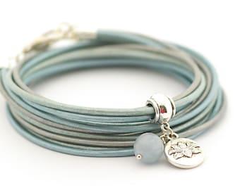 Aquamarine Bracelet, Metallic Blue Wrap Bracelet, Mandala Bracelet, Lotus Yoga Bracelet, Minimalist Jewelry, gift for her boho chic