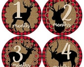 ON SALE Baby Monthly Milestone Growth Stickers Red Black Buffalo Plaid Burlap Deer Rustic Lumberjack Woodland MS844 Shower Gift Baby Photo P
