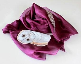 Hand painted Owl long silk scarf, Purple silk scarf, Painted owl scarf