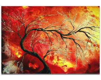 Landscape Painting 'Fresh Blossoms' by Megan Duncanson - Abstract Tree Art Warm Autumn Decor on Metal or Acrylic