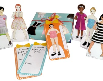 Paper Doll Gift Tags - Set of 6 Different Girls