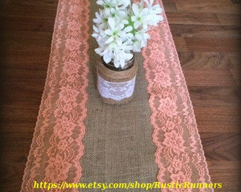 Rustic Charm Wedding Burlap and Coral Lace Table Runner, Coral Lace for a Beach wedding, Shabby runner Rustic Bridal shower party and events