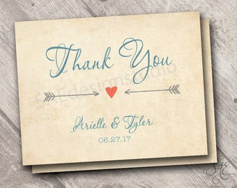 Wedding Thank You (folded or flat) Cards Notes Postcards, White or Cream or Rustic