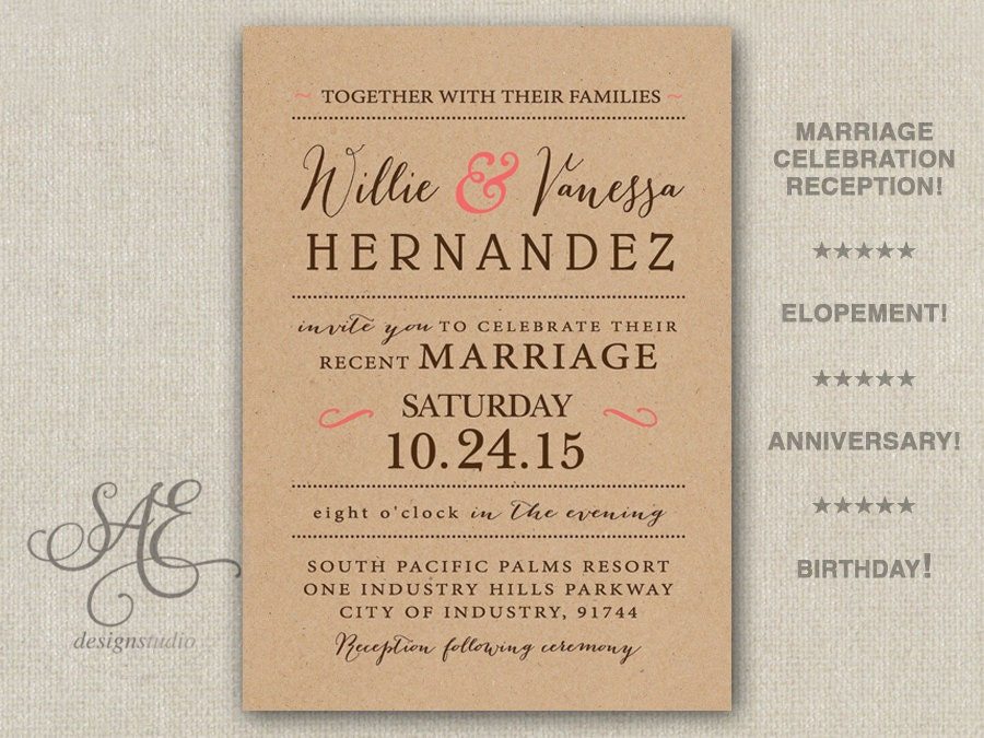 After The Wedding Party Invitations: Wedding Elopement Reception Invitations Invite Announcement