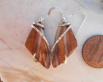 Hickoryite Agate  Silver Wrapped Earrings