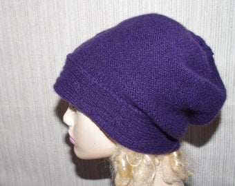Cashmere Purple Cable Hand Knit Slouchy Beanie Hat for Women