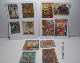 Die Cuts, Circus Die Cuts, 12 CIRCUS VINTAGE Die Cuts for Crafting, Altered Art - Choose from 110 lb. Card Stock or Adhesive, Partial DIY