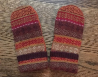 Fleece lined wool mittens made from recycled sweaters.