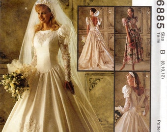 "Bridal Gown, Wedding Dress and Bridesmaid Dress Pattern - Size 8, 10, 12, Bust 31 1/2"", 32 1/2"", 34"" - McCall's 6885 uncut"