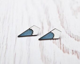 Geometric stud earrings, Tribal post earrings, bridesmaid earrings, Many color variations
