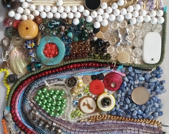 1 lb bag of beads, buttons and findings
