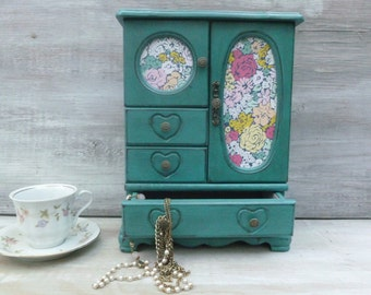 Teal Distressed Painted Jewelry Box