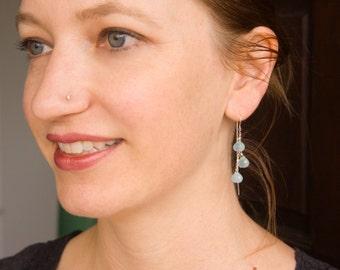 Chalcedony Drop Earrings with Ear Thread