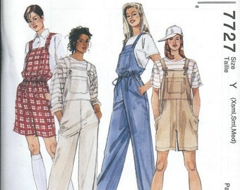ON SALE McCall's 7727 Misses Easy Overalls Pattern, Two Lengths, Size XS-S-M Uncut
